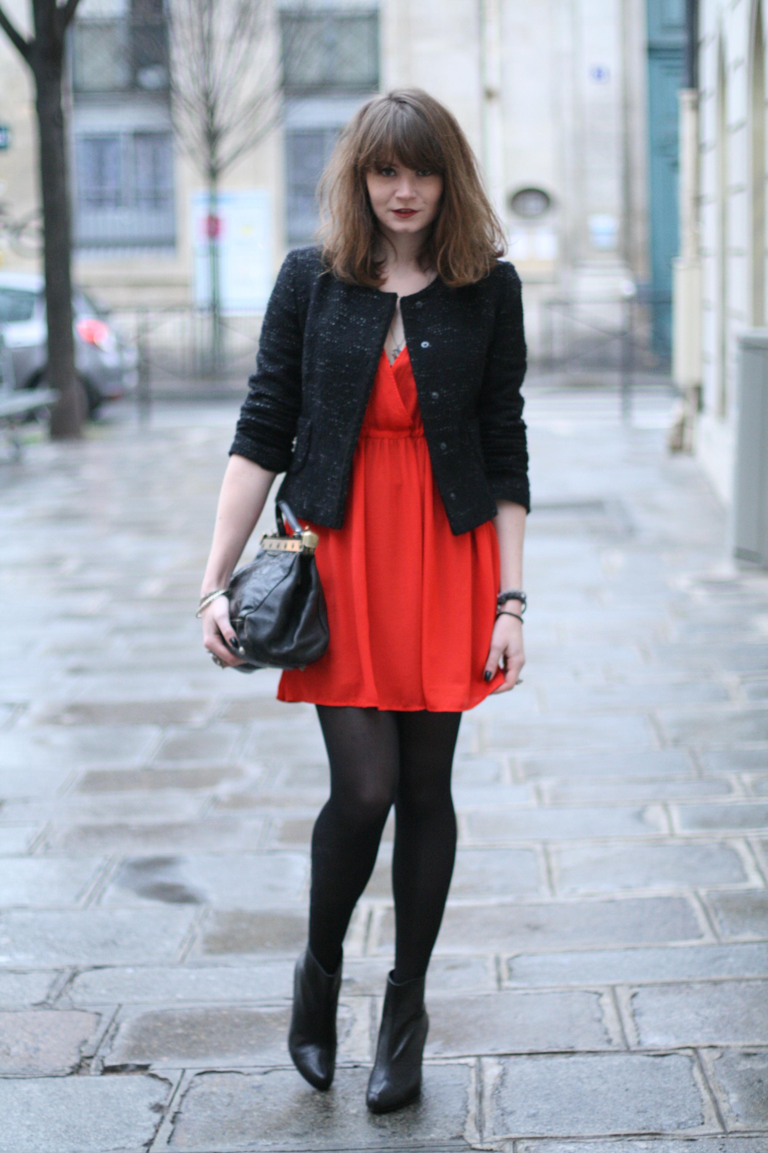 robe la mode robe rouge quelle veste. Black Bedroom Furniture Sets. Home Design Ideas