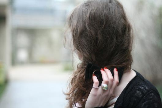 cheveux noeud noir