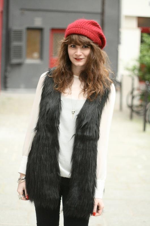 veste fausse fourrure noire