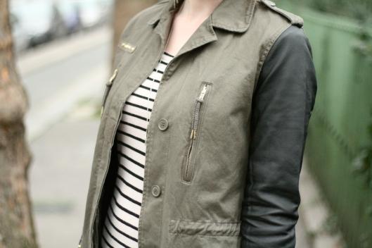 veste militaire manches cuir
