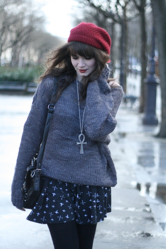 look pull gris oversize