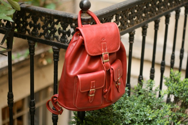 cartable cuir rouge