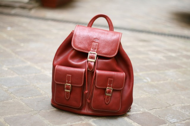 cartable rouge cuir katana