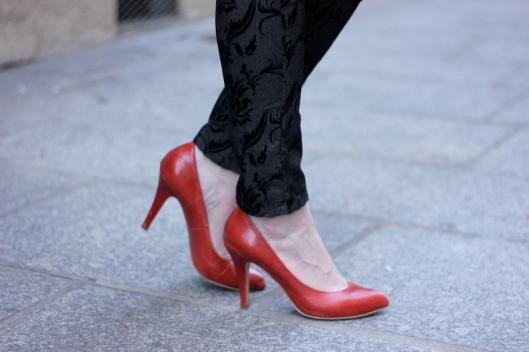 escarpins rouges cuir