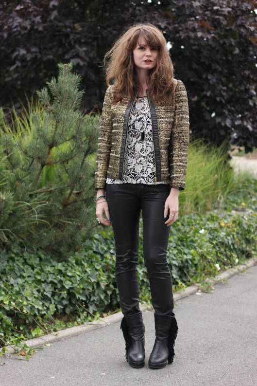 look veste tweed or