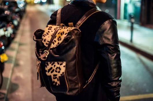 cartable léopard cuir