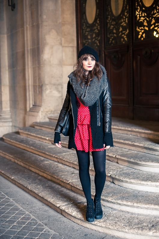 look robe rouge hiver