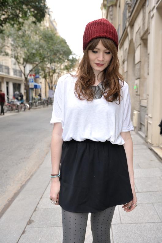 jupe noire top blanc