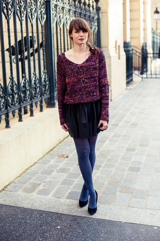 look jupe cuir plissee
