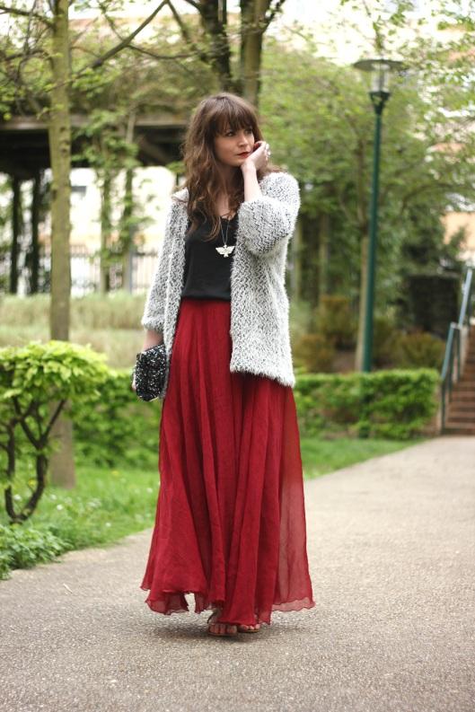 jupe long rouge blog