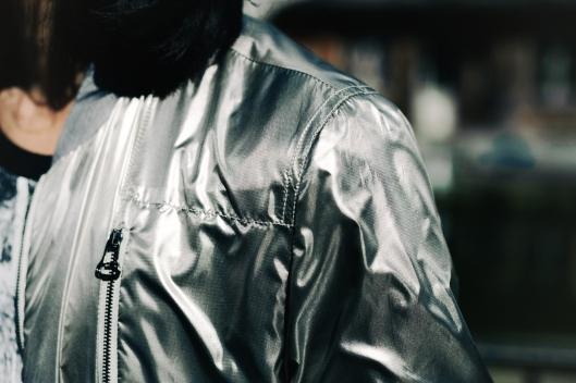 silver lanvin bombers jacket