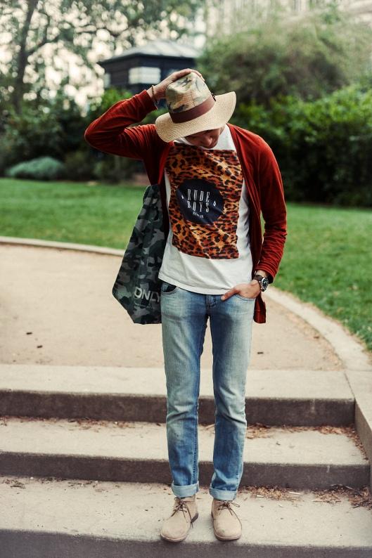 look homme jean chapeau