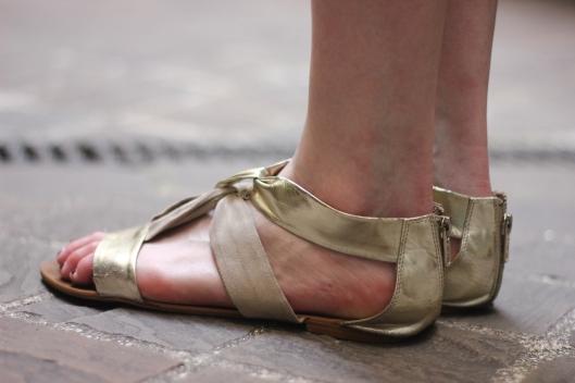 sandales cuir or