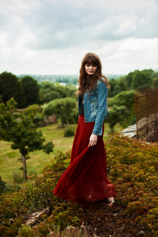 jupe longue rouge