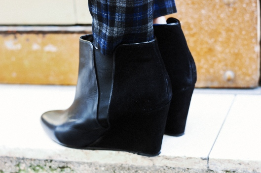 boots compensées daim