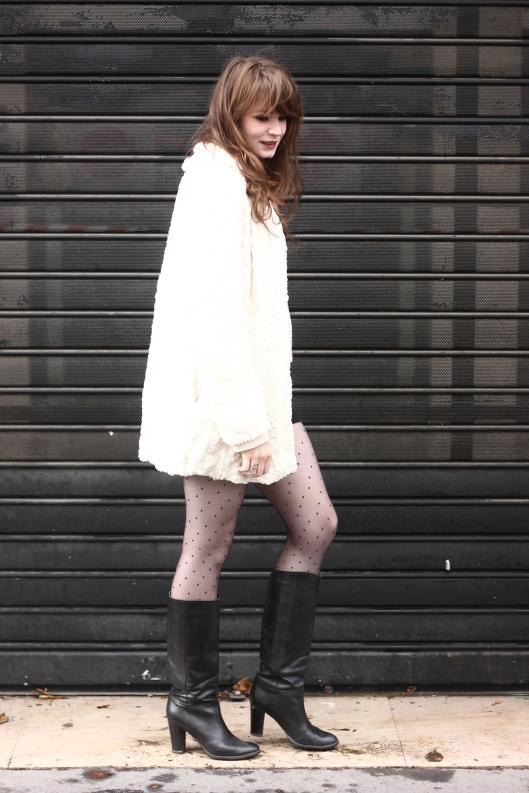 manteau fausse fourrure blanche