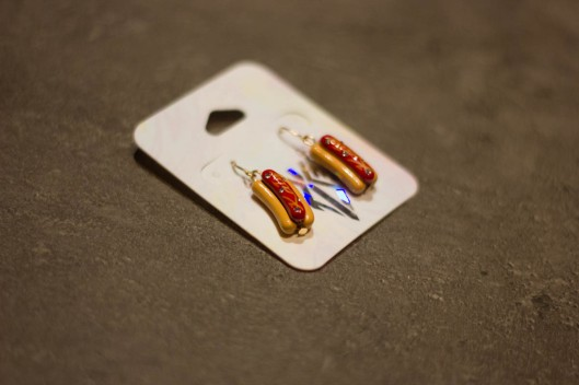boucles d'oreilles hot dog